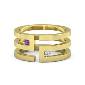 18K Yellow Gold Ring with Amethyst & Diamond
