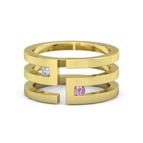 18K Yellow Gold Ring with Diamond and Pink Tourmaline