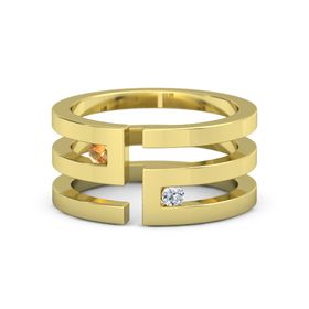 18K Yellow Gold Ring with Citrine and Diamond