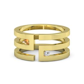 18K Yellow Gold Ring with Citrine and White Sapphire