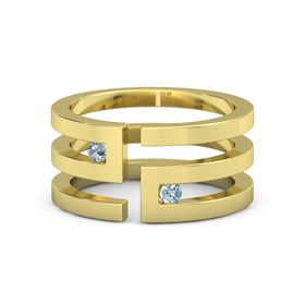 18K Yellow Gold Ring with Blue Topaz and Aquamarine
