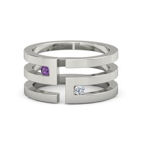 Palladium Ring with Amethyst and Diamond