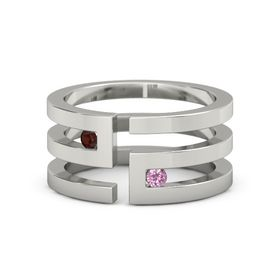 Palladium Ring with Red Garnet and Pink Tourmaline