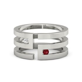 Palladium Ring with White Sapphire & Ruby