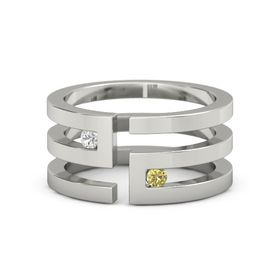 Palladium Ring with White Sapphire & Yellow Sapphire