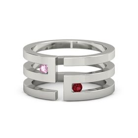 Palladium Ring with Pink Sapphire and Ruby