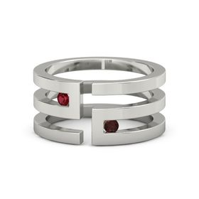 Palladium Ring with Ruby & Red Garnet