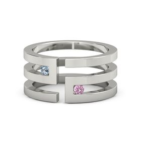 Palladium Ring with Blue Topaz and Pink Sapphire