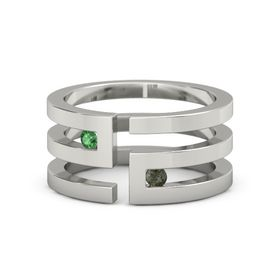 Platinum Ring with Emerald & Green Tourmaline