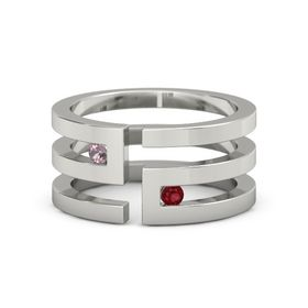Platinum Ring with Rhodolite Garnet and Ruby
