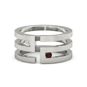 Platinum Ring with White Sapphire & Red Garnet