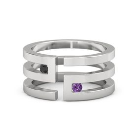 Sterling Silver Ring with Black Diamond & Amethyst