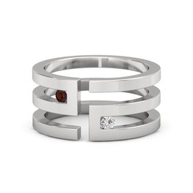 Sterling Silver Ring with Red Garnet and White Sapphire