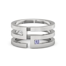Sterling Silver Ring with White Sapphire & Tanzanite