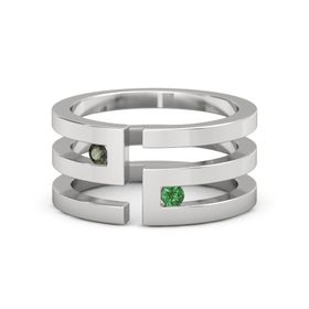 Sterling Silver Ring with Green Tourmaline and Emerald
