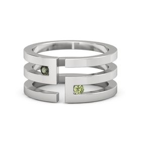 Sterling Silver Ring with Green Tourmaline & Peridot