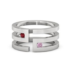 Sterling Silver Ring with Ruby & Pink Sapphire