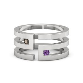 Sterling Silver Ring with Smoky Quartz & Amethyst