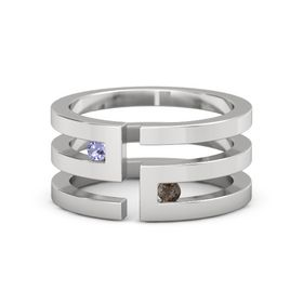Sterling Silver Ring with Tanzanite and Smoky Quartz