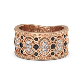 14K Rose Gold Ring with Black Diamond & Diamond