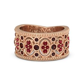 14K Rose Gold Ring with Red Garnet & Ruby
