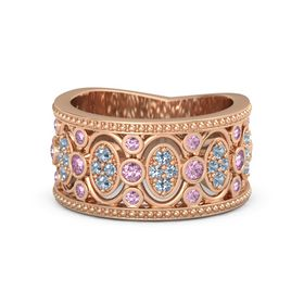14K Rose Gold Ring with Pink Sapphire and Blue Topaz