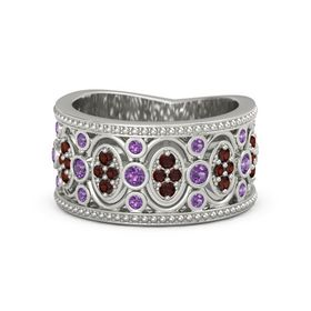 14K White Gold Ring with Amethyst and Red Garnet