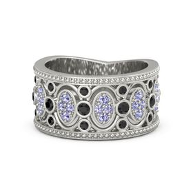 14K White Gold Ring with Black Diamond and Tanzanite