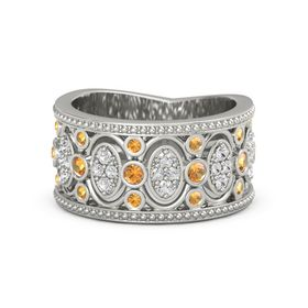 14K White Gold Ring with Citrine & White Sapphire