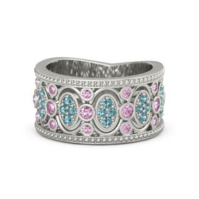 14K White Gold Ring with Pink Sapphire & London Blue Topaz