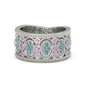 14K White Gold Ring with Pink Tourmaline & London Blue Topaz