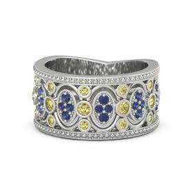 14K White Gold Ring with Yellow Sapphire and Blue Sapphire