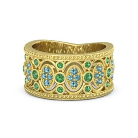 14K Yellow Gold Ring with Emerald and London Blue Topaz