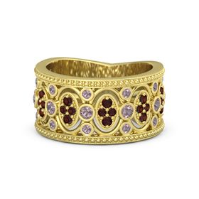 14K Yellow Gold Ring with Rhodolite Garnet & Red Garnet