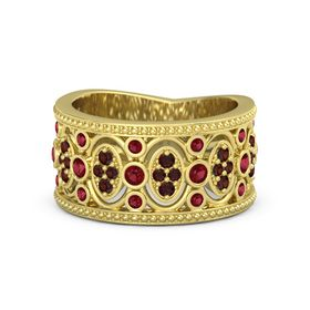 14K Yellow Gold Ring with Ruby & Red Garnet
