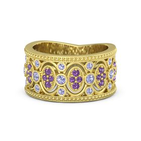 14K Yellow Gold Ring with Tanzanite and Amethyst