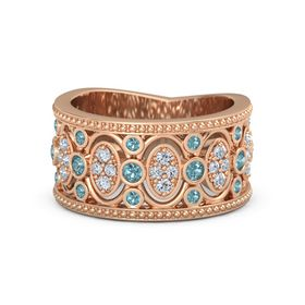 18K Rose Gold Ring with London Blue Topaz & Diamond