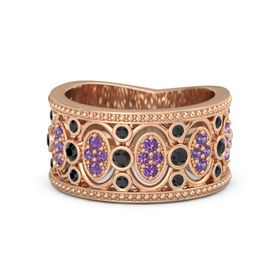 18K Rose Gold Ring with Black Diamond & Amethyst