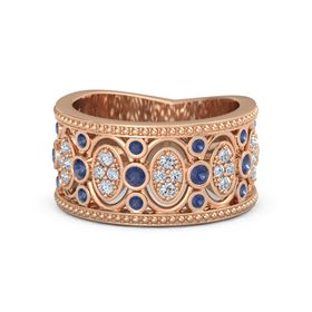 18K Rose Gold Ring with Sapphire & Diamond
