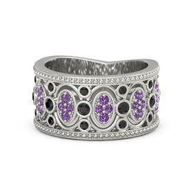 18K White Gold Ring with Black Diamond and Amethyst