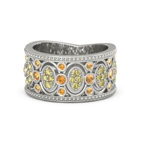18K White Gold Ring with Citrine & Yellow Sapphire