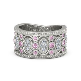 18K White Gold Ring with Pink Sapphire & Diamond