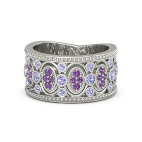 18K White Gold Ring with Tanzanite & Amethyst
