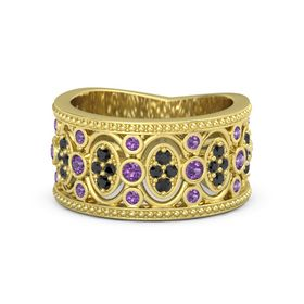 18K Yellow Gold Ring with Amethyst & Black Diamond