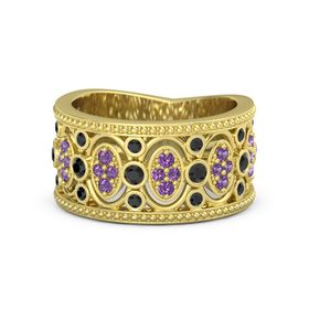 18K Yellow Gold Ring with Black Diamond and Amethyst