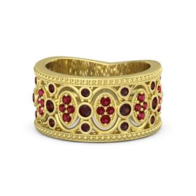 18K Yellow Gold Ring with Red Garnet & Ruby