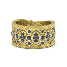 18K Yellow Gold Ring with Sapphire
