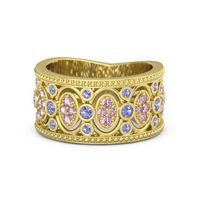 18K Yellow Gold Ring with Iolite and Pink Sapphire