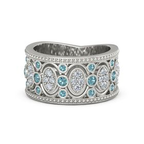Palladium Ring with London Blue Topaz & Diamond