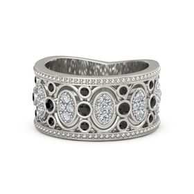 Palladium Ring with Black Diamond & Diamond